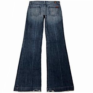 7 For All Mankind Dojo 28X35 Long Flare Blue Jeans